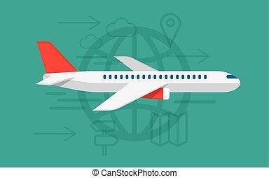 illust, 飛機, 矢量, 徵候。, 飛行