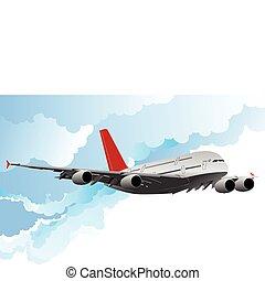 illust, avião, vetorial, vôo