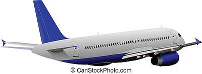 illust, avión, vector, aire.