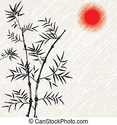 illust, bambus, wektor, japończyk, asian