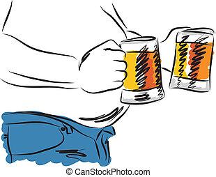 illust, bière, homme, boire, ventre