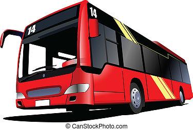 illust, bus., vettore, città, rosso, coach.