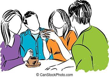 illust, café, amis, ensemble, temps