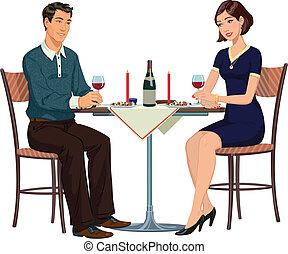 illust, donna, -, uomo, tavola