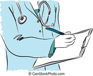illust, médico, enfermeira, serviço, doutor