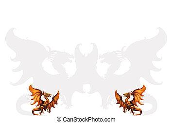 illust, medievale, due, vettore, dragons.