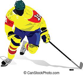 illust, vetorial, players., hóquei, gelo