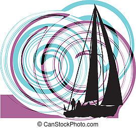 illust, wektor, nawigacja, luksus, yacht.