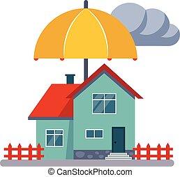 illustartion, 家, ベクトル, 保険