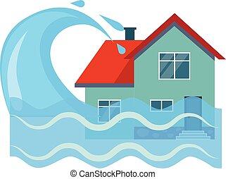 illustartion, 洪水, ベクトル, 保険, 家