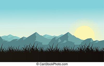 Illustartion of mountain with sun landscape