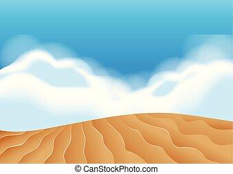illustartion, sabbia, scena, duna