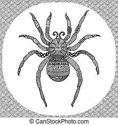 illustartion, zentangle, page, coloration, balck, araignés