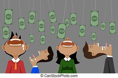 illustation, cebo, vector, dinero, plano de fondo, hombre de negocios