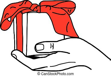 illustation vector hand drawn doodle of Hand holding a gift box with red bow