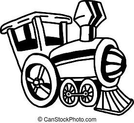 illustation vector hand drawn doodle of locomotive train isolated on white background