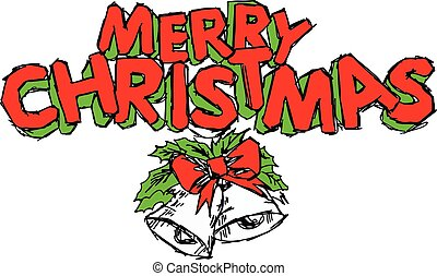 illustation vector hand drawn doodle of Merry Christmas text free hand design isolated on white background.