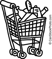 illustation vector hand drawn doodle of supermarket shopping cart with goods isolated on white background