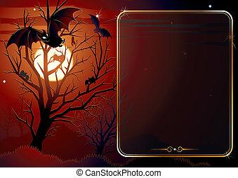 illustré, halloween, fond