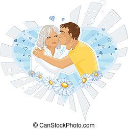illustré, mère, fils
