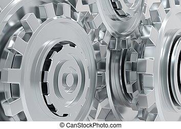 illustré, roues, métal, engrenage, 3d