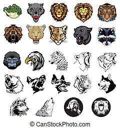 illustré, sauvage, ensemble, animaux, chiens