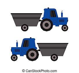 illustré, tracteur, fond, charrette, vecteur, icône, blanc