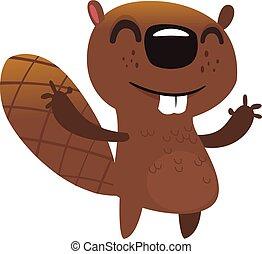 illustré, vecteur, beaver., rigolote, dessin animé, icône