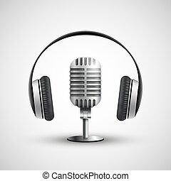illustr, écouteurs, réaliste, vecteur, stockage, microphone., icône