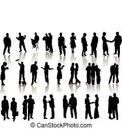 illustr , άνθρωποι , μικροβιοφορέας , silhouettes.