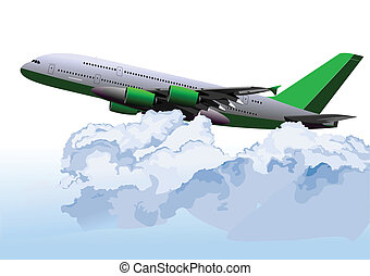 illustr, 飛行機, ベクトル, 空気。