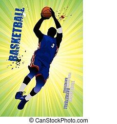 illustr, basket-ball, players., vecteur