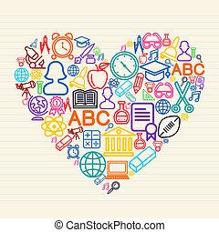 illustr, escola, conceito, amor, costas