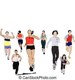 illustr, mensen., vector, rennende