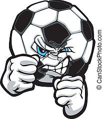 illustr, palla calcio, combattimento, vettore