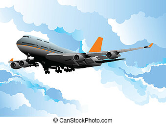 illustr, passageiro, vetorial, avião.