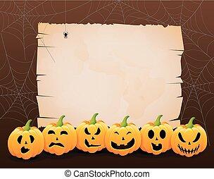 illustr, pauroso, zucche, halloween
