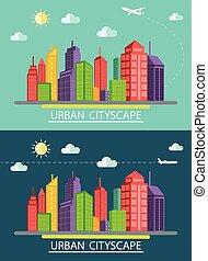 illustr, plat, conception, paysage, urbain