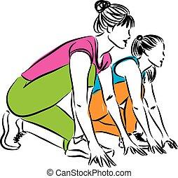 illustr, prąd, początkowy, biegacze, kobiety