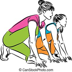 illustr, raça, começar, corredores, mulheres