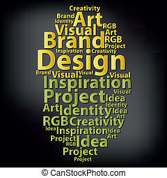 illustr, texto, concept., tipografía, vector, diseño, ...