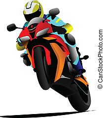 illustra, biker, vector, road.