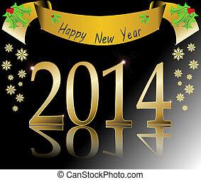 illustra, jaar, vector, nieuw, 2014, vrolijke
