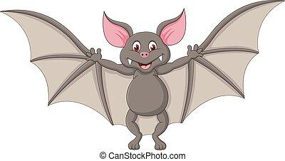illustra, vettore, cartone animato, pipistrello, flying.