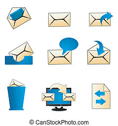 illustraion of set of mailing icons on isolated background