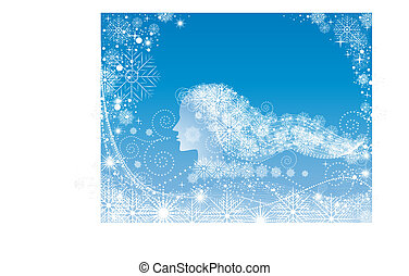 Woman with snowy hair