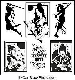 illustraiton, samurai, vector, katana., geisha