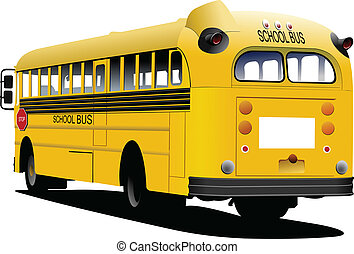 illustrat, 学校, ベクトル, bus., 黄色