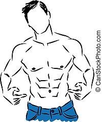 illustrat, actuación, hombre, vientre, condición física
