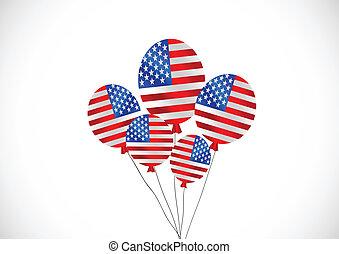 illustrat, amerykanka, wektor, bandera, idea